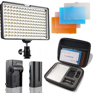 Slim LED light panel with filters, battery, charger and case.